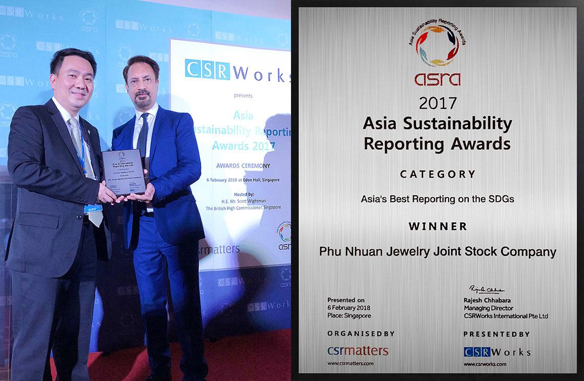 """PNJ vinh dự đoạt giải """"Báo Cáo Tốt Nhất Châu Á"""" về việc gắn kết mục tiêu phát triển bền vững của Liên Hiệp Quốc"""