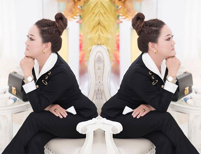 NTK Oanh Phan diện trang phục sắc thu thu hút ánh nhìn trong sự kiện