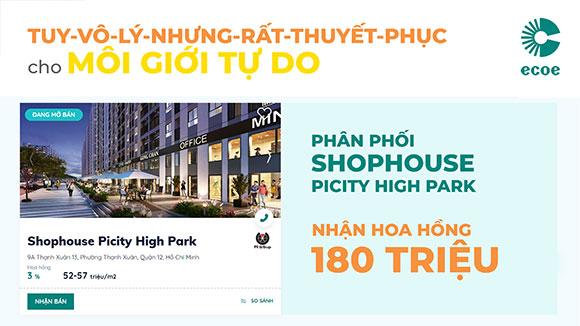 ECOE – Hợp tác với sàn bất động sản ưu đãi khủng phân phối Shophouse Picity High Park