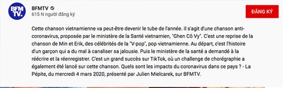 """Sau truyền hình Mỹ, tạp chí Billboard, UNICEF, """"Ghen Cô Vy"""" tiếp tục công phá đài truyền hình Pháp và hàng loạt trang tin quốc tế"""