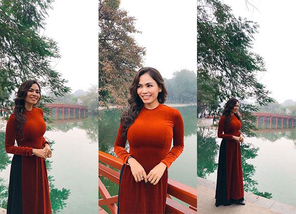 Bất chấp giá lạnh giữa Hà Thành, Thạch Kim Thanh khỏe đường cong và vóc dáng thon gọn trong tà áo dài