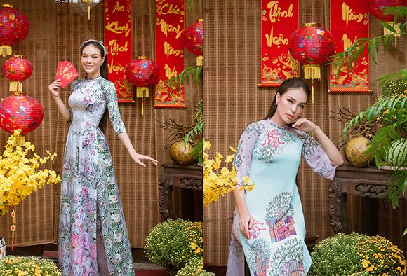 Hoàng Hương Ly thả dáng đầy quyến rũ với sắc đỏ ngọt ngào trong tà áo dài Tết